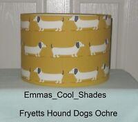 Handmade Lampshade Fryetts Hound Dog Fabric Duck Egg / Ochre Dachshund Mustard