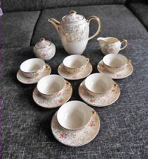 Villeroy & Boch Mettlach Saar tè caffè servizio 21tlg ROSE E ORO 40s 50s