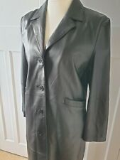 Long Black Leather Coat Jacket Button down  Fitted Trench Gothic Steampunk UK 14