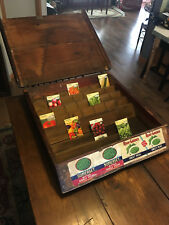 RARE ANTIQUE SLANTED WOOD SEED BOX DISPLAY WITH METAL HOOK HINGES & PEAS LABELS