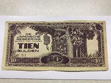 1942 Japan/Netherlands/Indies 10 Gulden Fine Military #4901