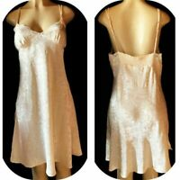 Vtg 80's LINGERIE & CO short Shiny Jacquard NIGHTGOWN Butter Cream L 40""
