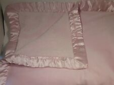 Carters Pink Satin Trim Reversible Baby Blanket Thank Heaven Little Girls