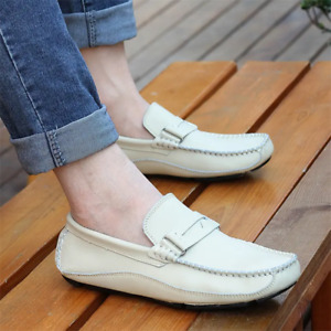 Men Soft Light Weight Driving Shoes Casual Leather Lazy Flat Spring Fall Loafers