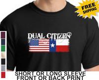 American Flag Texas Flag Dual Citizen Republic Of Texas Lone Star Mens T-Shirt