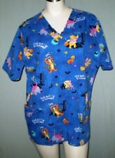 Disney Blue Large Scrub Top Winnie the Pooh Halloween Theme Cotton