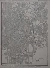Original 1923 Map LOS ANGELES California University Sunset Boulevard Chinatown