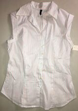 NWT Ladies Juniors Dressy Cap Sleeve Blouse Shirt Stretch Red White Blue Size M
