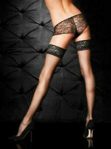 Ann Summers Lace Top Glossy Hold Ups, Black, Size L/XL