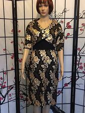 Vintage 50's Holiday  Black/Gold Wiggle Pencil Embroidered Dress Suit XS