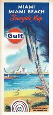 1969 GULF Pictorial Road Map MIAMI BEACH Florida Coral Gables Hialeah Opa-Locka