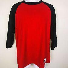Champion Mens Shirt sz L Red Black 3/4 Sleeve Casual Crew Neck Baseball MY68