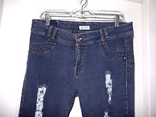 Sexsi Pompis Skinny Jeans-size 18  Chic distressed + rhinestone bling!