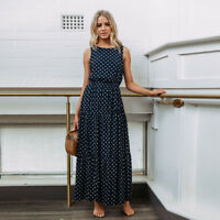 Fashion Women Boho Long Maxi Dress Vintage Polka Dot Summer Party Beach Sundress
