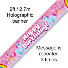 9ft Unicorn Rainbow Happy Birthday Banner - Garland Party Hanging Decoration