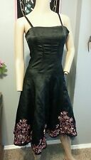 Betsey Johnson Evening Black Floral Embroidered Silk Mesh Goth Party Dress 2 S