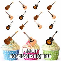 PRECUT Acoustic Guitar 12 Edible Cupcake Toppers Cake Decorations Birthday Party