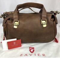Rare ZARVIER Brown Leather Satchel Handbag + Authenticity Card & Dust Bag