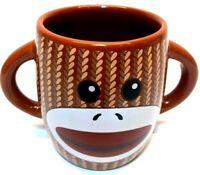 Galerie Double Sided Double Handle Sock Monkey Ceramic Coffee Tea Cocoa Mug Cup