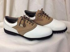 FootJoy Extra Comfort Men's White & Khaki Saddle Oxford Shoes - Size US 8.5