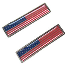 Pair Stainless Metal USA Flag Side Fender Sticker Emblem fit For Ford