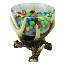 River's Edge Products Deer Antler Glass Candy Dish, Decorative Bowl