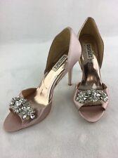 Badgley Mischka Giana Blush Satin Embellished Peep Toe Pumps Size 9M RH13586