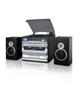 Trexonic TRX-11BS 3-Speed Turntable CD Dual Cassette with Bluetooth USB FM SD