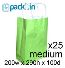 x25 LIME GREEN paper gift CARRY tote party BAGS handles - MEDIUM (200 x 290mm)