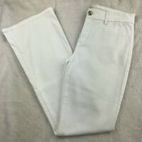 "Chico's So Slimming Womens Size 00 Girlfriend Flare Jeans White 31"" Inseam"