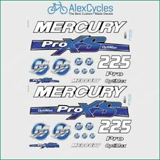 Mercury 225 HP Optimax ProXS Outboadrs Motor Blue Laminated Decals Boat
