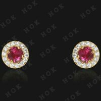 2 Ct Round Ruby and Diamond 14k Yellow Gold Finish Halo Stud Earrings