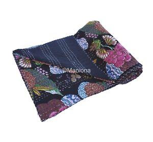 Fruit Print Black Color Kantha Quilt Queen Size Blanket Throw Indian Bedspread