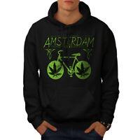 Wellcoda Amsterdam Weed Bike Mens Hoodie, Holland Casual Hooded Sweatshirt