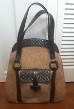 Vintage tweed leather Large PURSE brass hardware canvas lining WORTH tote bag