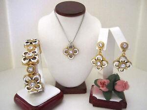 "Brighton ""SAVA"" Silver/Gold Necklace-Earring-Bracelet Set (MSR$148) NWT/Pouch"