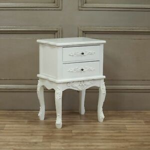 French Style Chic White 2 Drawer Bedside Table Ornate Bedroom Nightstand