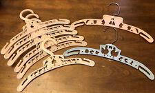 Vtg 8 Plastic Child's Clothes Hangers Babies With Rabbits Humpty Dumpty Roosters