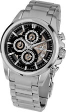 Jacques Lemans Men's Liverpool 46mm Black Dial Stainless Steel Chrono Watch