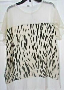 NWT womens ZARA S animal print Hi lo short sleeve cream blouse top