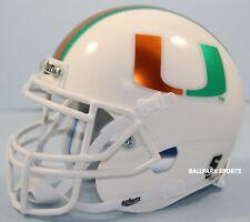 MIAMI HURRICANES (WHITE/CHROME DECALS) Schutt XP Mini Helmet