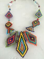 Czech Glass Bead Multi Triangle Statement Pendant Necklace Multi-Color Brights