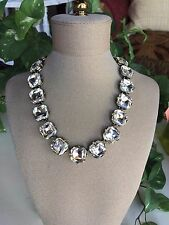 "J Crew Statement Style Square Translucent Crystal Necklace 15"" Wedding"