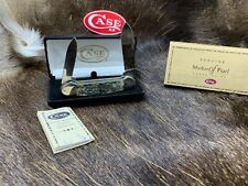 2000 Case Silver Script Canoe Knife Genuine Abalone Knife Mint Velvet Box - 1D