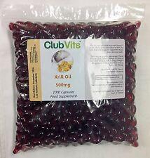 Club Vits - Krill Öl 500mg - 1000 Kapseln - Marine Phospholipide, Omega 3 & 9
