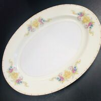 "Kikusui China Oval Platter Floral Rose Gold Trim Serving Plate 12"" Dinnerware"