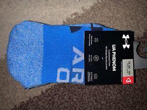 Nwt Under Armour Phenom Crew Socks 3 Pk Blue/Gray Youth 13.5K-4Y
