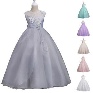 Child Flower Girls Long Party Dress Bridesmaid Wedding Princess Formal Prom Gown