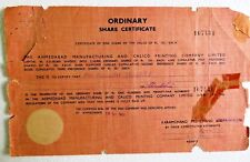 Vtg Share Certificate ink signed The Ahmedabad Manufacturing & Calico Printing