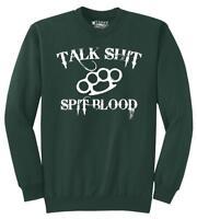 Mens Talk S**t Spit Blood Sweatshirt Gangster Rap Music Movie Sweater